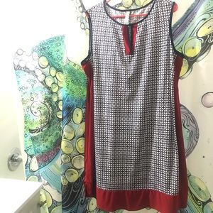 Navy, white, red sleeveless geometric dress